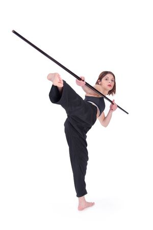 martial arts woman: Lady in Black doing Wu dang Kungfu