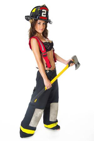 Sexy Female Firefighter Banco de Imagens