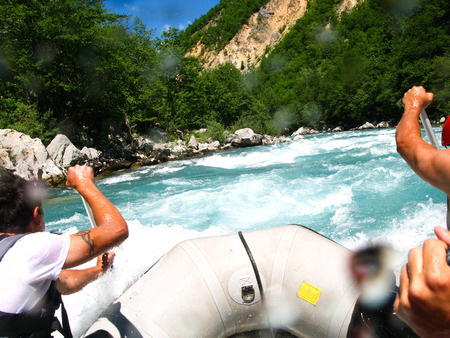 MONTENEGRO, RIVER TARA - JUNE 062012: in the north of Montenegro passed competitions on rafting. The competition was attended by representatives of different countries.