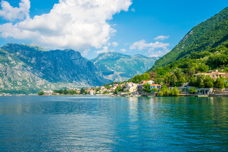 The medieval town of Prcanj in the Boko-kotorska bay. Stock Photo