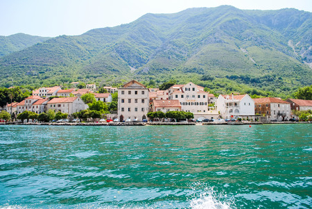 The beautiful Bay of Kotor in Montenegro. Stock Photo