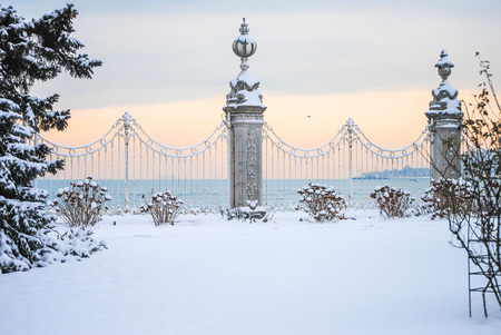 Huge picturesque Dolmabahce Palace in Istanbul. Turkey.