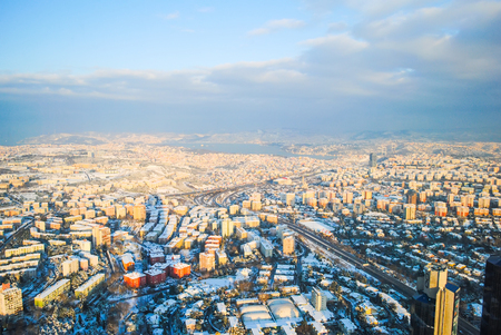 Istanbul is a snow-capped from a bird's-eye view.