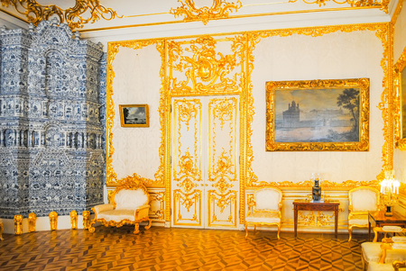 RUSSIA, ST. PETERSBURG - JUNE 222013: palace of Tsarskoye Selo received visitors after restoration of many exhibits.