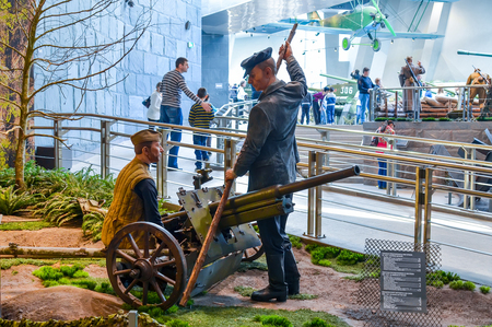 BELARUS, MINSK - APRIL 092015: Belarusian State Museum of the Great Patriotic War, invited the visitors after restoration of many exhibits.