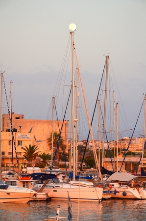 GREECE, CRETE, HERAKLION - JULY 112014: tourists visited the seaport in the major city of Heraklion.