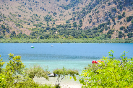 Picturesque Lake Kournas in Crete (Greece) Stock Photo