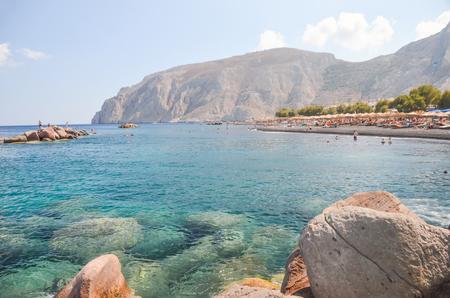 gorgeous black beach on the island of Santorini Stock Photo