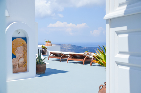the picturesque island of Santorini in Greece 写真素材