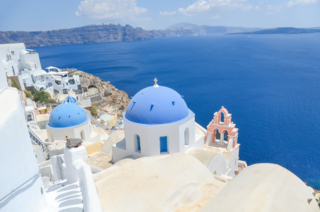 church with blue dome at Santorini island 写真素材