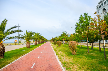 The beautiful bike path on the embankment in Batumi, Georgia.