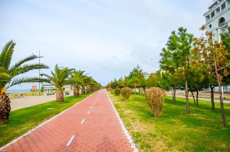 The beautiful bike path on the embankment in Batumi, Georgia. Stock fotó - 102302477
