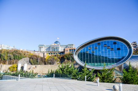 GEORGIA, TBILISI - NOVEMBER 23/2014: in the central square ends with the construction of the futuristic complex. Redakční
