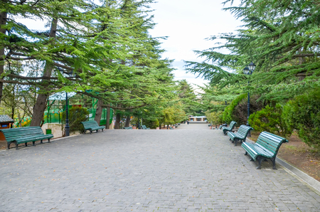 Scenic Mtatsminda park for children located on the top of the mountain in Tbilisi Imagens