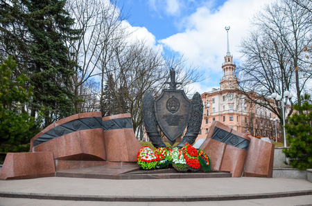 Monument to perished employees of Ministry of Internal Affairs in Minsk. Belarus.