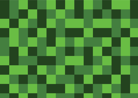 Green field with different squares and rectangles.