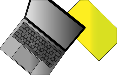 Stylish MacBook on the table with a yellow folder.