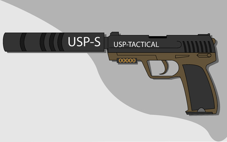 Hand pistol with a silencer.