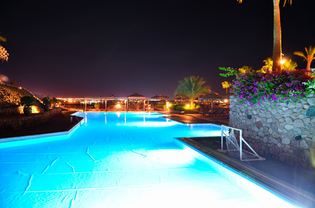 Beautiful Arabian night in a hotel of Egypt. Sharm el-Sheikh