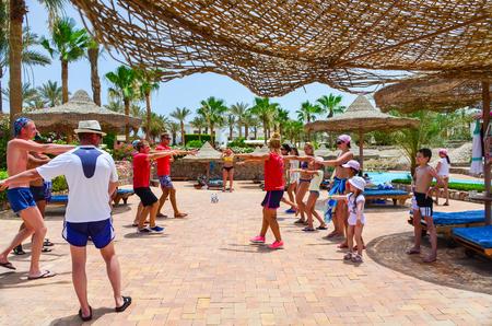 EGYPT, SHARM EL SHEIKH - 08 JUNE / 2015: animators entertain visitors at the music.