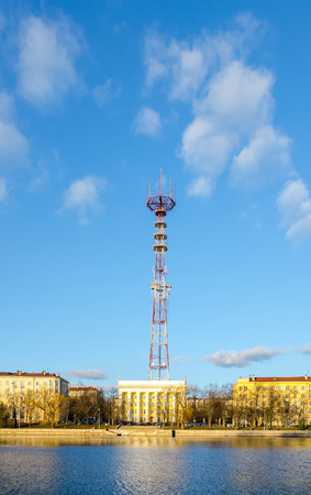 Minsk TV tower is located near the river Svisloch Stock Photo