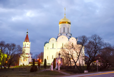 Minsk church with golden dome in winter