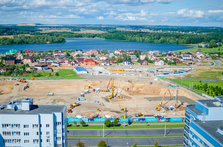 BELARUS, MINSK - AUGUST 072016: workers are building a center for Olympic training in rhythmic gymnastics.