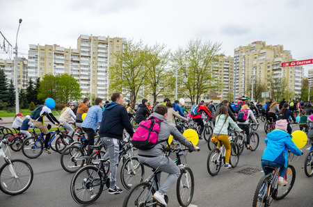 BELARUS, MINSK - APRIL 30/2016: On the central streets of Minsk hosted the annual bicycle carnival in which everyone participated. Reklamní fotografie - 115969246