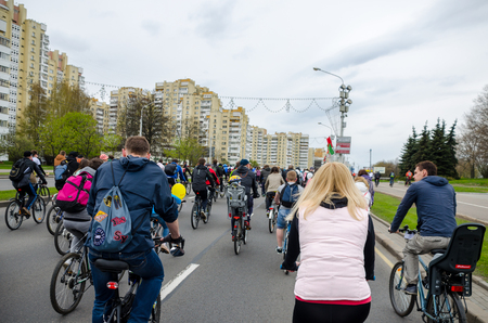 BELARUS, MINSK - APRIL 30/2016: On the central streets of Minsk hosted the annual bicycle carnival in which everyone participated. Reklamní fotografie - 115969250