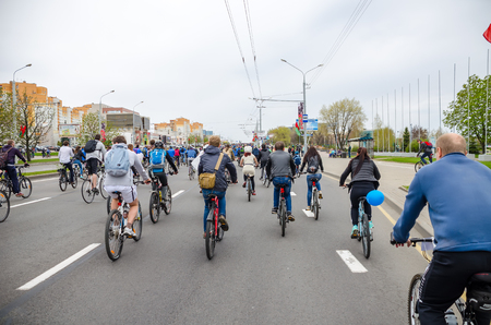 BELARUS, MINSK - APRIL 30/2016: On the central streets of Minsk hosted the annual bicycle carnival in which everyone participated. Reklamní fotografie - 115969264