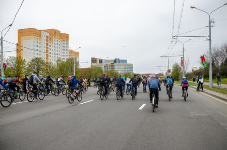 BELARUS, MINSK - APRIL 302016: On the central streets of Minsk hosted the annual bicycle carnival in which everyone participated.