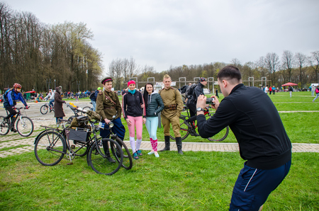 BELARUS, MINSK - APRIL 30/2016: On the central streets of Minsk hosted the annual bicycle carnival in which everyone participated.