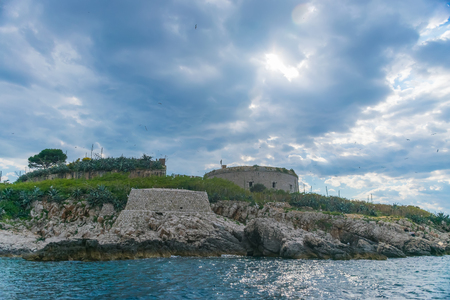 Ancient fortress is located on the island of Mamula. Boka-Kotor Bay. Montenegro. Editorial
