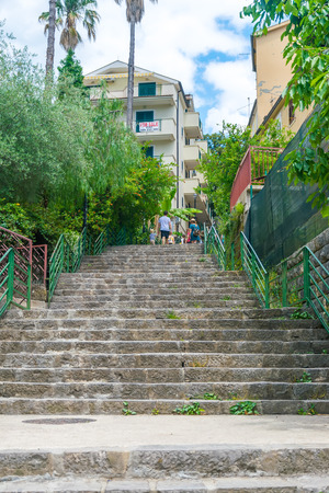 MONTENEGRO, HERCEG NOVI - MAY 272017: tourists are walking along the narrow streets of the old city. Editorial