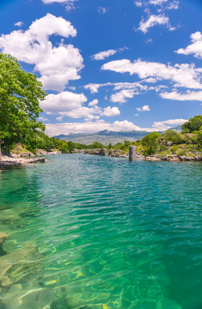 The mouth of the picturesque and fast river Tsievna. Niagara Falls. Montenegro, Podgorica. Stock Photo