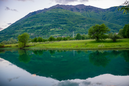 Picturesque Lake Plav in the mountains of Montenegro. 写真素材