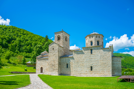Picturesque Orthodox Monastery Djurdjevi Stupovi in Montenegro