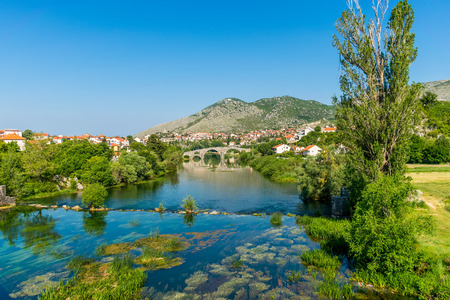 Magnificent view of Trebinje from the height of the ancient temple of Hercegovachka-Gracanica Stock fotó