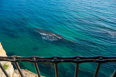 Picturesque views of the Adriatic sea from a height of serf window. Stock Photo