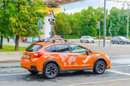 RUSSIA, MOSCOW - JULY 12/2016: automotive companies are testing a new unmanned vehicle on the streets of the city.