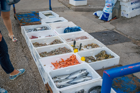 MONTENEGRO, BUDVA - MAY 30/2017: sellers in the market will sell fresh sea products