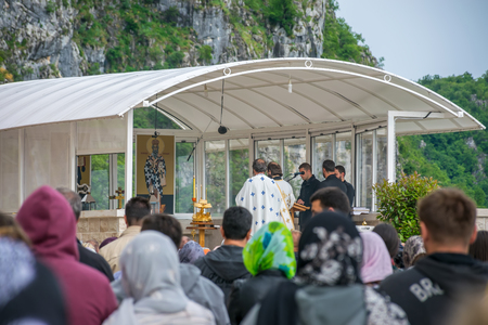 MONTENEGRO, OSTROG MONASTERY - JUNE 032017: prayers were held in honor of the feast of the Holy Trinity in medieval monasteries.