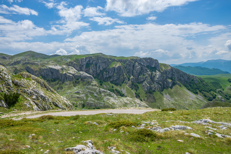 A picturesque road among the mountains in the National Park Durmitor.