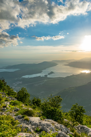 Scenic views of the Bay of Kotor open from a viewpoint on the top of the mountain. 写真素材 - 122838280