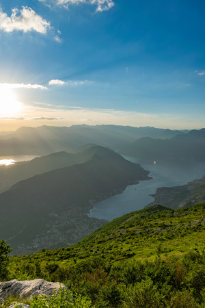 Scenic views of the Bay of Kotor open from a viewpoint on the top of the mountain. 写真素材 - 122838282