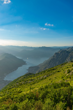 Scenic views of the Bay of Kotor open from a viewpoint on the top of the mountain. 写真素材 - 122838283