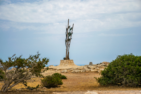 On the coast of the Mediterranean Sea at the top of the mountain is the Monument of Peace. Фото со стока