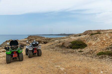 CYPRUS - MAY 112018: Tourists travel along the azure coast of the Mediterranean. Редакционное