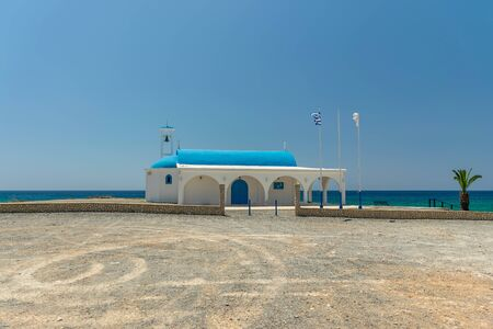 On the seashore is the chapel and cave of Ayia Thekla.