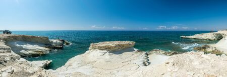 The picturesque beach of white stones is located on the Mediterranean coast on the island of Cyprus.
